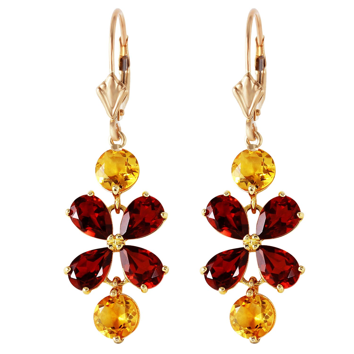 Garnet and Citrine Blossom Drop Earrings 5.32ctw in 9ct Gold