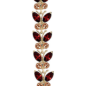 Garnet and Citrine Butterfly Bracelet 16.5ctw in 9ct Gold