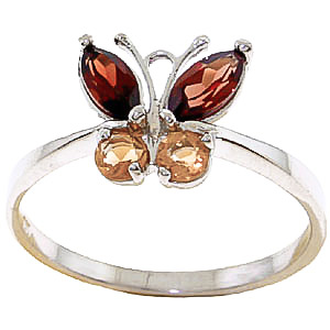 Garnet and Citrine Butterfly Ring 0.6ctw in 9ct Gold