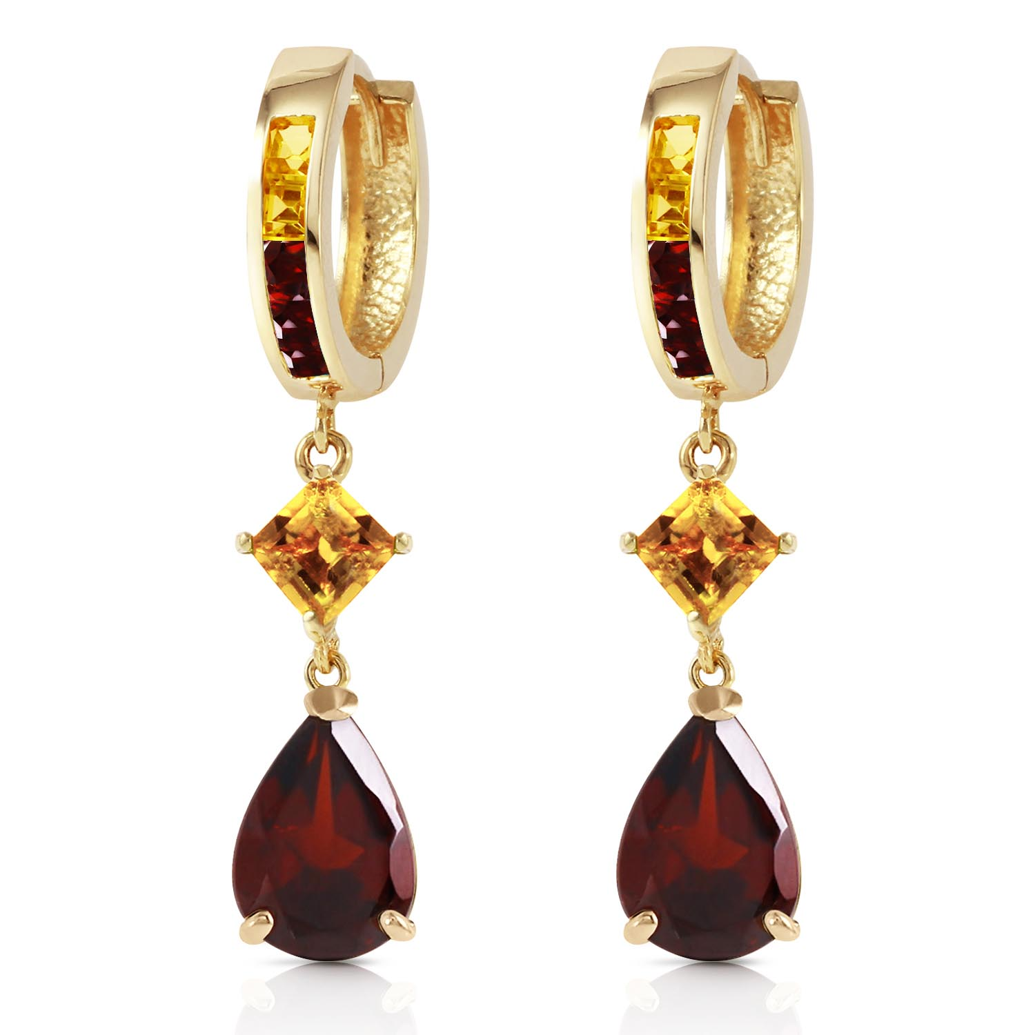Garnet and Citrine Huggie Earrings 4.9ctw in 9ct Gold