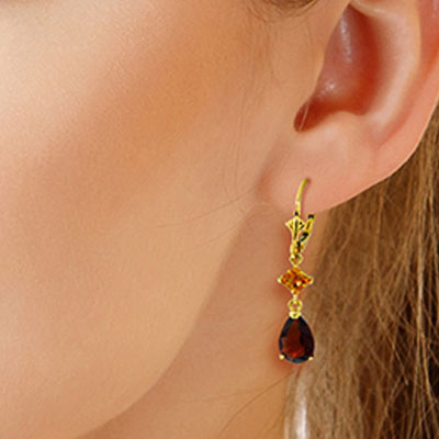 Garnet and Citrine Droplet Earrings 4.5ctw in 9ct Gold