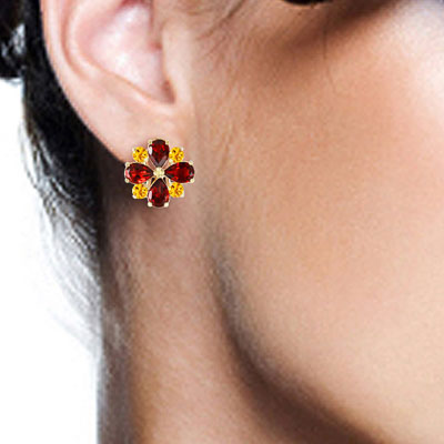 Garnet and Citrine Sunflower Stud French Clip Earrings 4.85ctw in 14K Gold