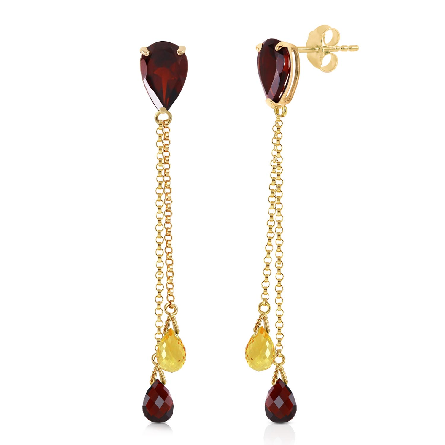 Garnet and Citrine Droplet Earrings 7.5ctw in 9ct Gold