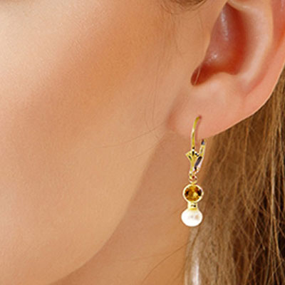Pearl and Citrine Drop Earrings 2.7ctw in 9ct Gold