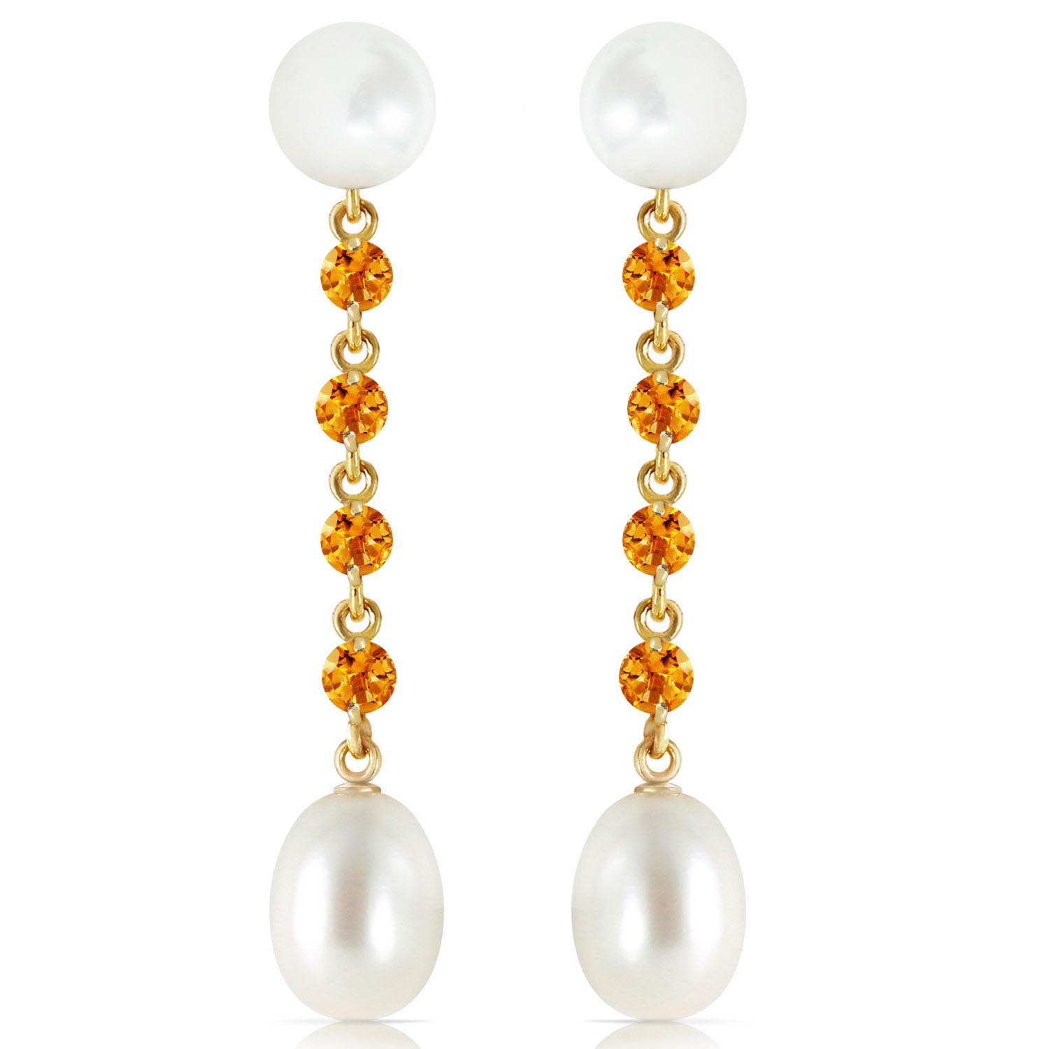 Pearl and Citrine by the Yard Drop Earrings 11.0ctw in 9ct Gold