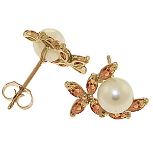 Pearl and Citrine Ivy Stud Earrings 3.25ctw in 14K Gold