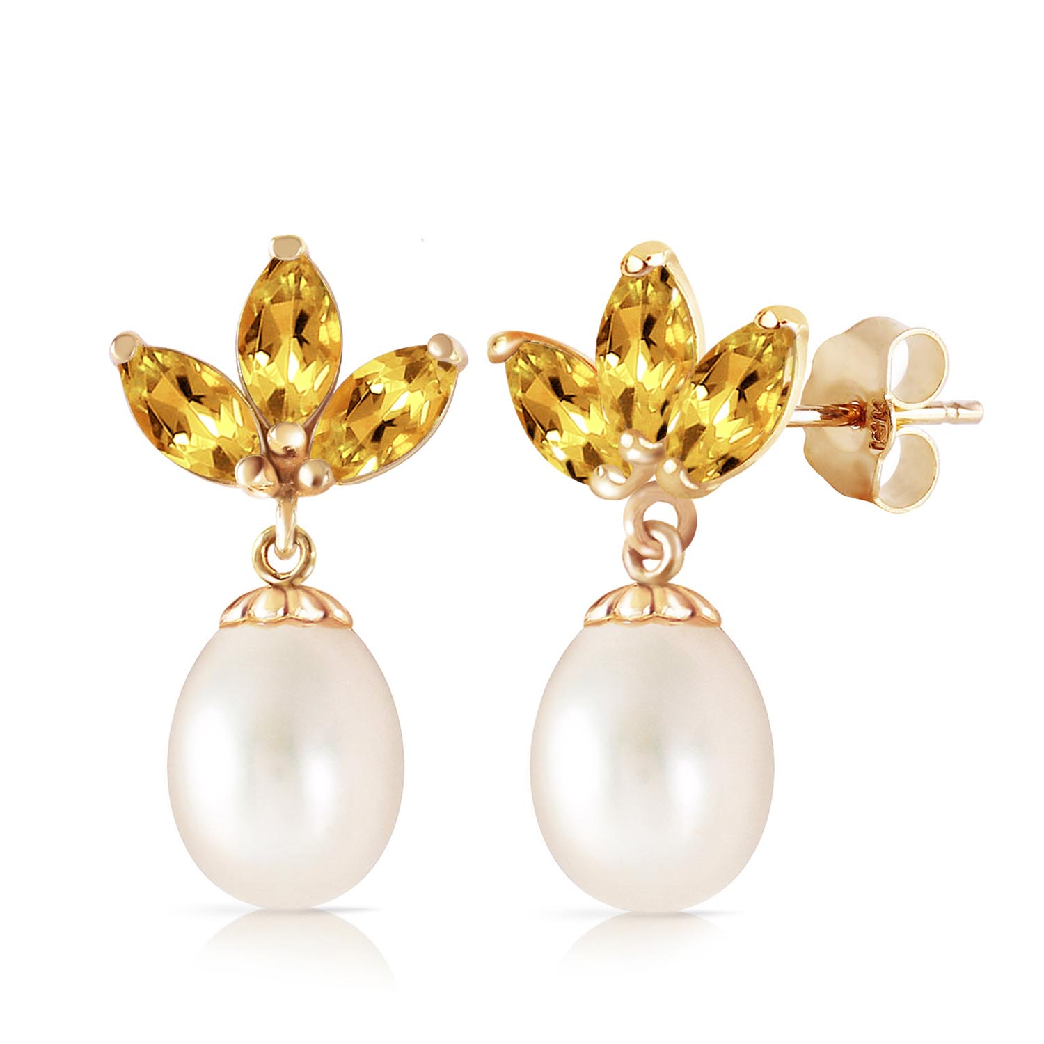 Pearl and Citrine Petal Drop Earrings 9.5ctw in 9ct Gold