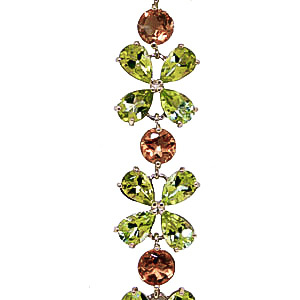 Peridot and Citrine Blossom Bracelet 20.7ctw in 14K Gold