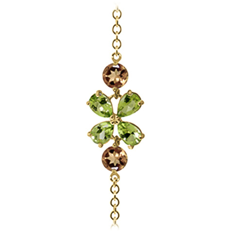 Peridot and Citrine Adjustable Bracelet 3.15ctw in 9ct Gold