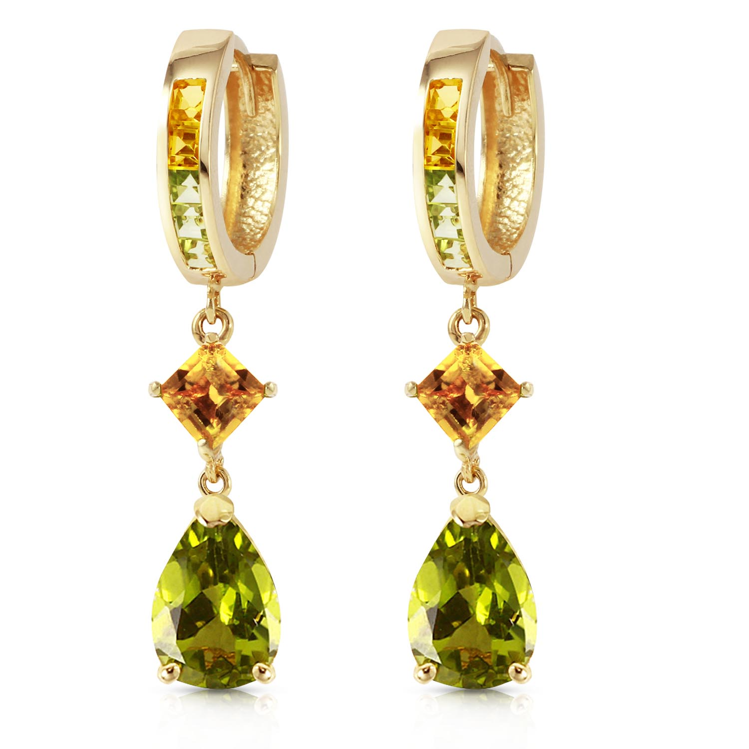 Peridot and Citrine Huggie Earrings 4.9ctw in 9ct Gold
