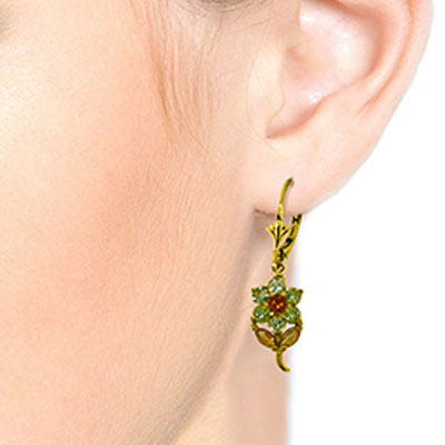 Peridot and Citrine Flower Petal Drop Earrings 2.12ctw in 14K Gold
