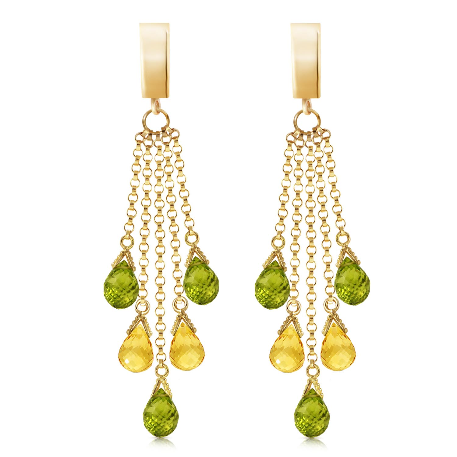Peridot and Citrine Droplet Earrings 7.3ctw in 9ct Gold