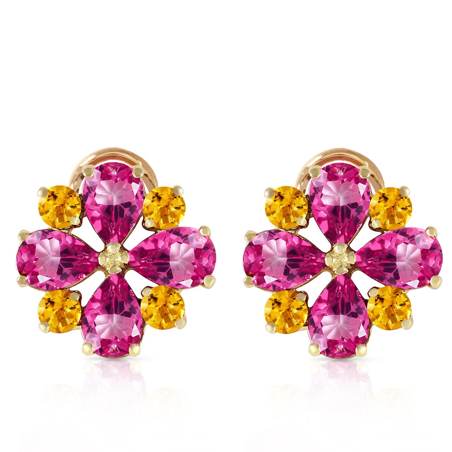 Pink Topaz and Citrine Sunflower Stud French Clip Earrings 4.85ctw in 9ct Gold