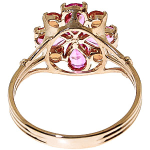 Pink Topaz and Citrine Sunflower Cluster Ring 2.43ctw in 9ct Gold