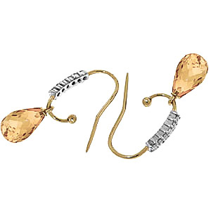 Diamond and Citrine Stem Droplet Earrings in 9ct Gold
