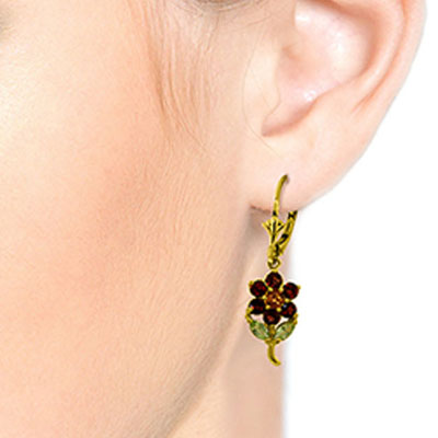 Garnet, Citrine and Peridot Flower Petal Drop Earrings 2.12ctw in 14K Gold