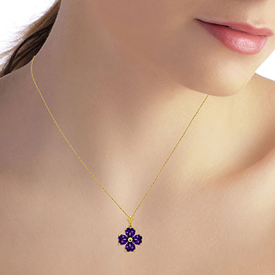 Amethyst Four Leaf Clover Heart Pendant Necklace 3.8ctw in 9ct Gold