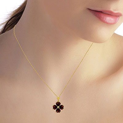 Garnet Four Leaf Clover Heart Pendant Necklace 3.8ctw in 9ct Gold