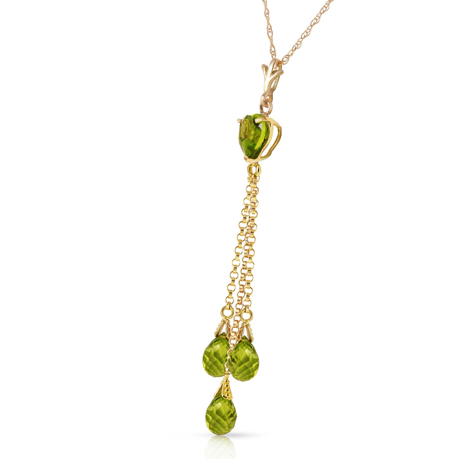 Peridot Comet Tail Heart Pendant Necklace 4.75ctw in 9ct Gold