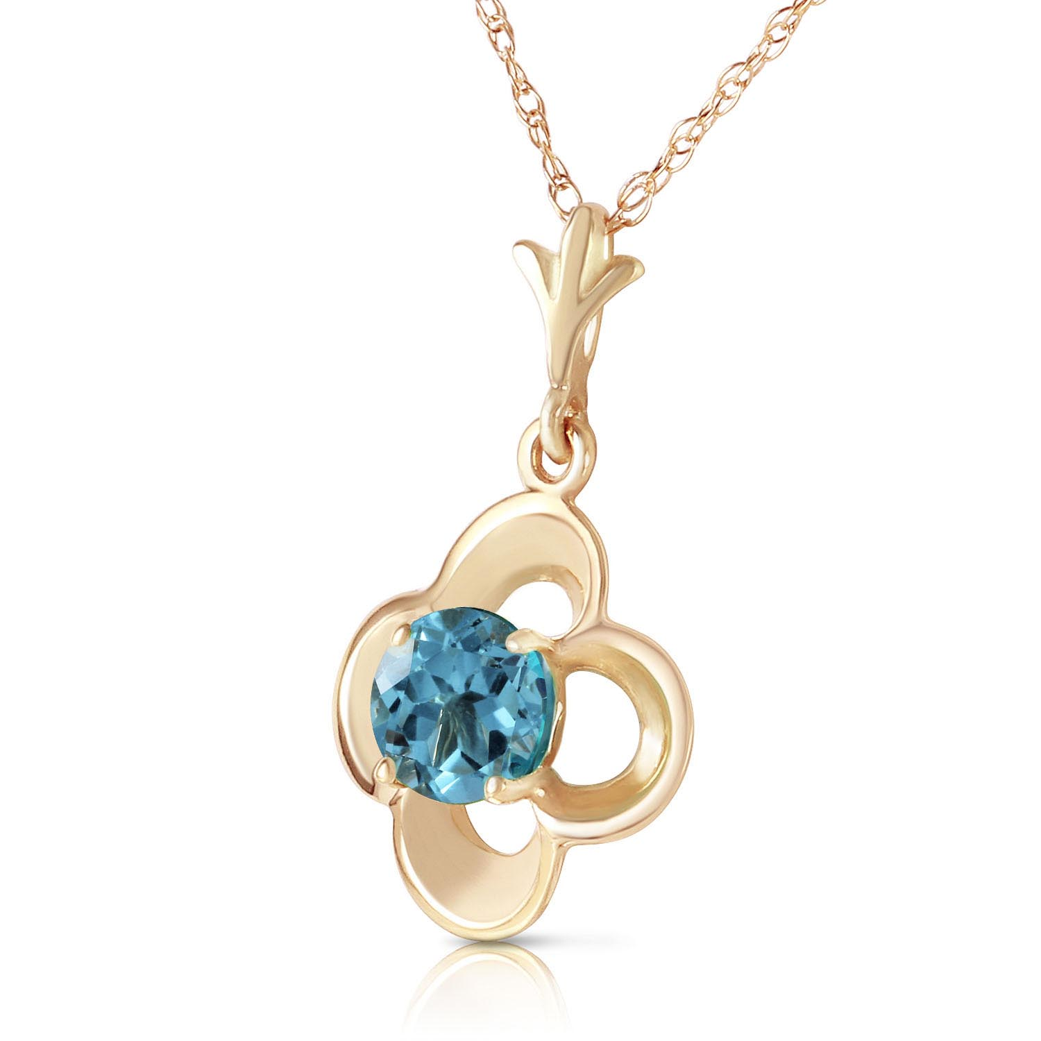 Blue Topaz Corona Pendant Necklace 0.55ct in 14K Gold