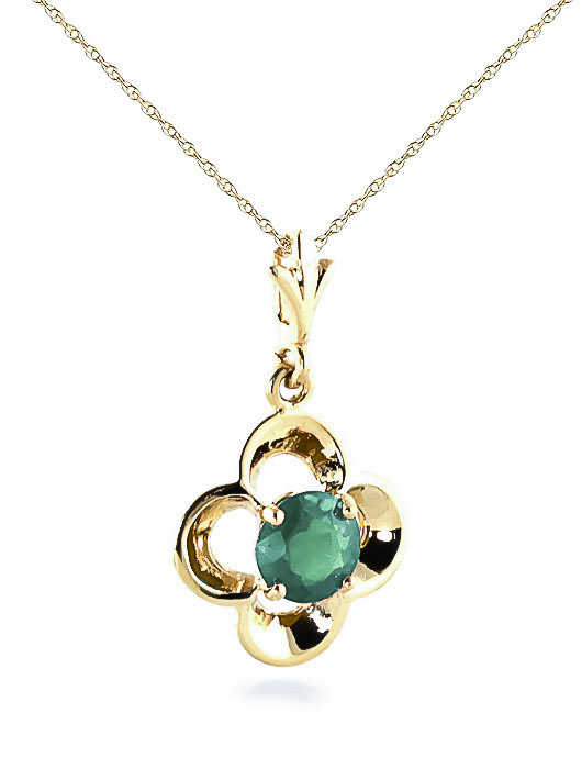 Emerald Corona Pendant Necklace 0.55ct in 9ct Gold