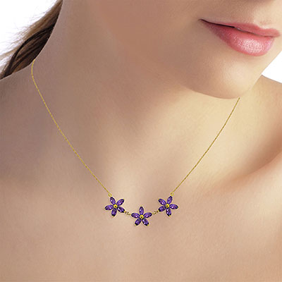 Amethyst Daisy Chain Pendant Necklace 4.2ctw in 9ct Gold