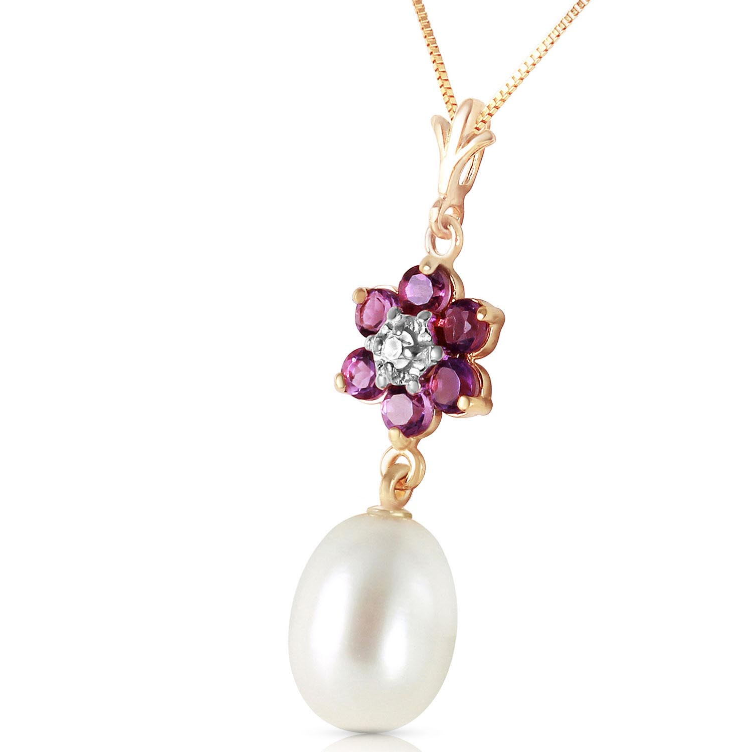 Pearl, Amethyst and Diamond Daisy Pendant Necklace 4.5ctw in 9ct Gold