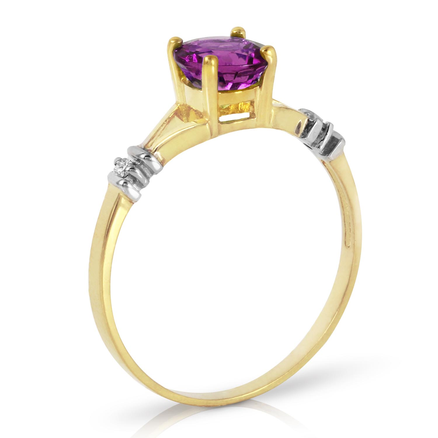 Amethyst and Diamond Aspire Ring 0.14K in 14K Gold