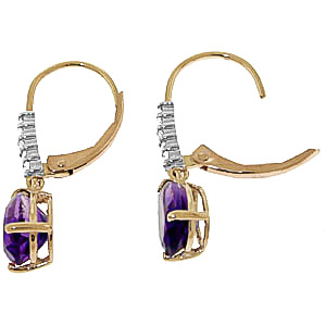 Amethyst and Diamond Belle Drop Earrings 3.0ctw in 9ct Gold