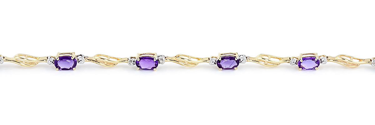 Amethyst and Diamond Classic Tennis Bracelet 2.95ctw in 14K Gold