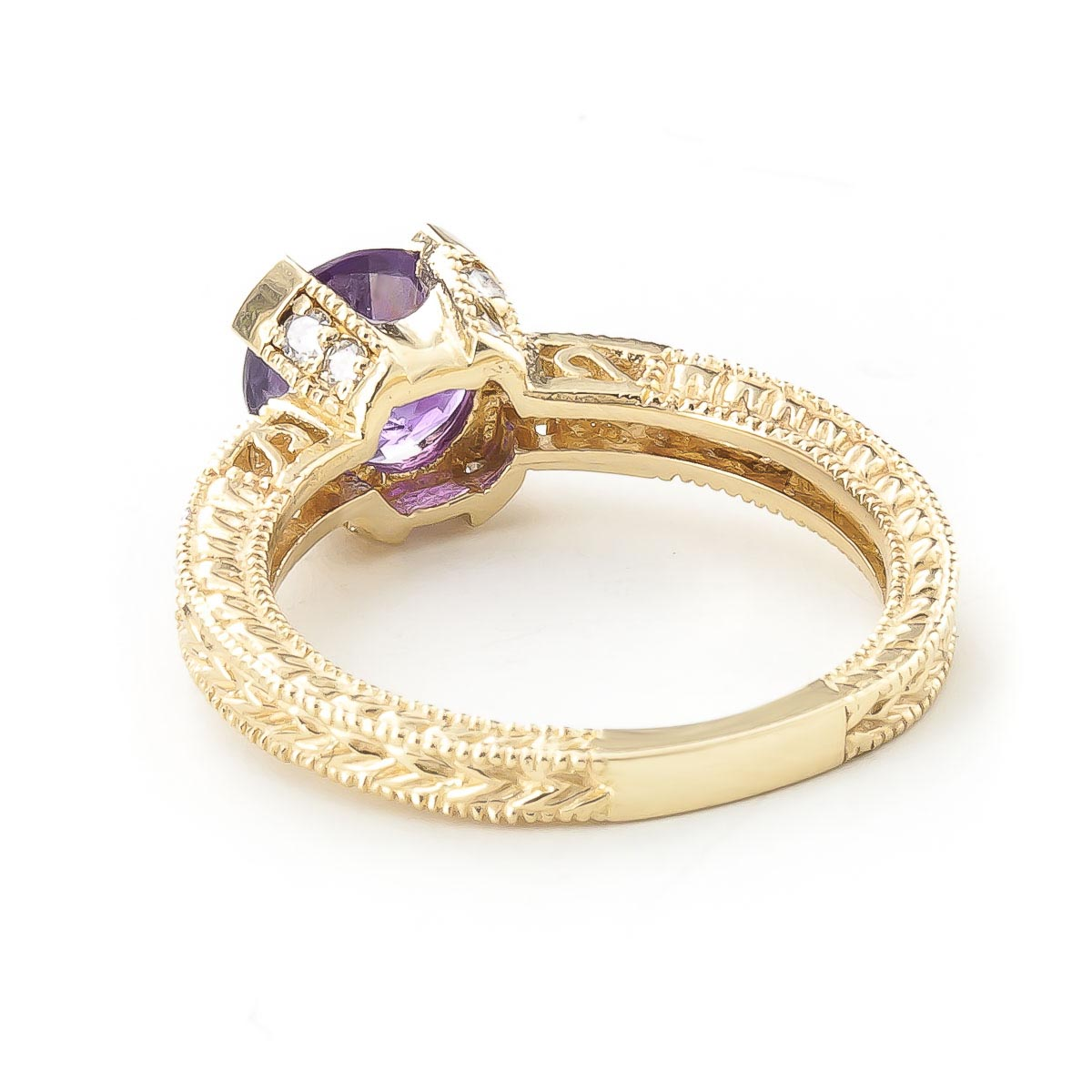 Amethyst and Diamond Renaissance Ring 1.5ct in 14K Gold