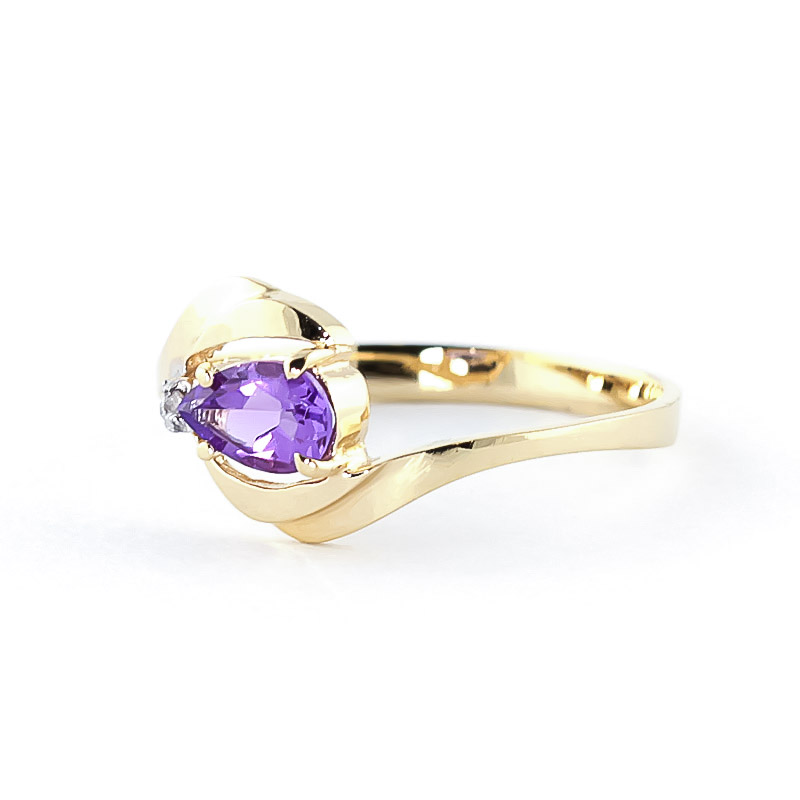 Amethyst and Diamond Flare Ring 0.5ct in 9ct Gold