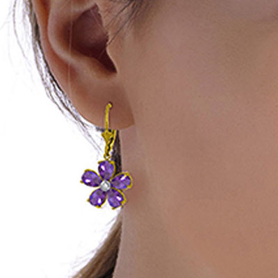 Amethyst and Diamond Flower Petal Drop Earrings 4.4ctw in 9ct Gold