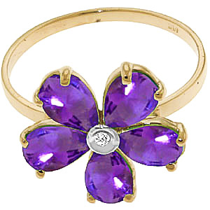Amethyst and Diamond Five Petal Ring 2.2ctw in 9ct Gold