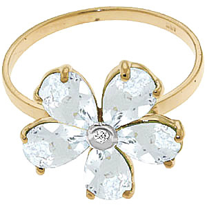 Aquamarine and Diamond Five Petal Ring 2.2ctw in 14K Gold