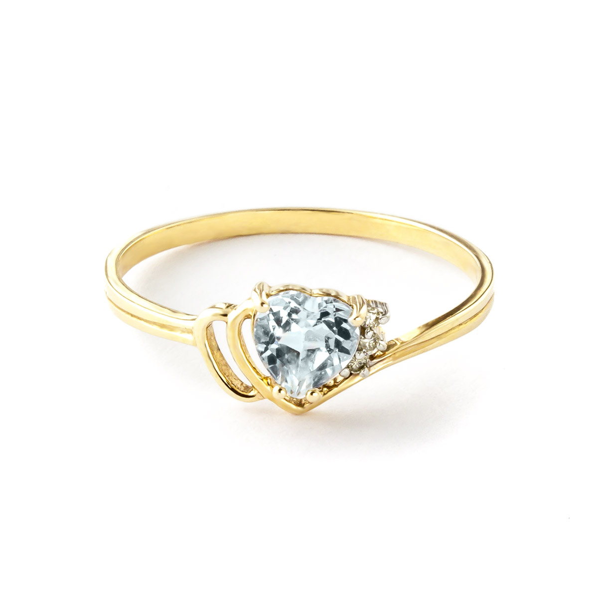 Aquamarine and Diamond Passion Ring 0.95ct in 14K Gold