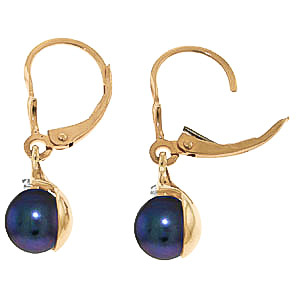 Black Pearl and Diamond Drop Earrings 4.0ctw in 9ct Gold