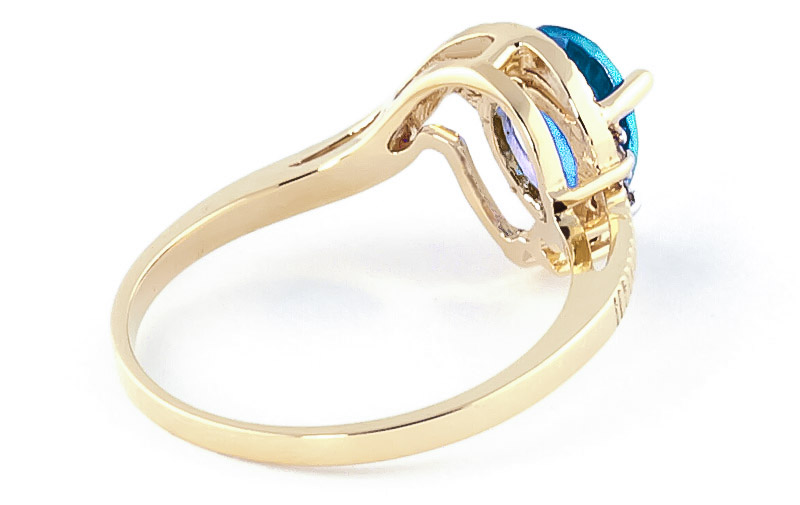 Blue Topaz and Diamond Belle Ring 1.5ct in 14K Gold
