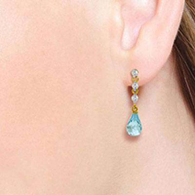 Blue Topaz and Diamond Chain Droplet Earrings 3.0ctw in 9ct Gold