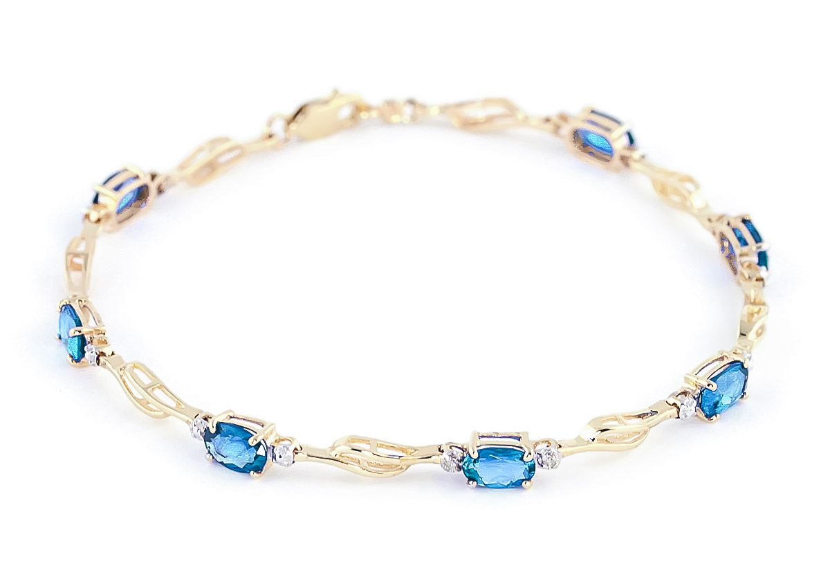 Blue Topaz and Diamond Classic Tennis Bracelet 3.38ctw in 9ct Gold