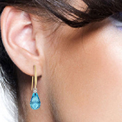 Blue Topaz and Diamond Drop Earrings 4.5ctw in 14K Gold