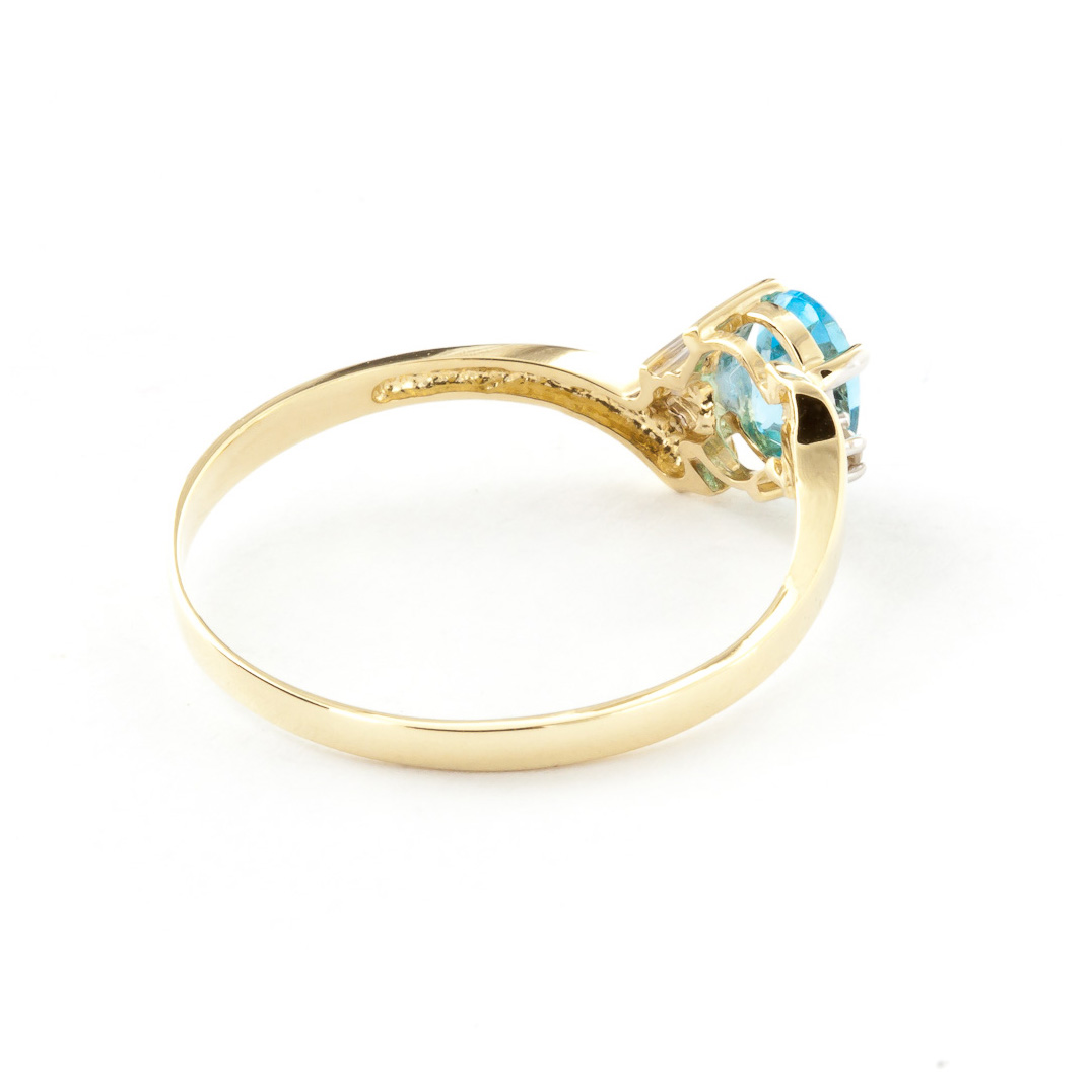Blue Topaz and Diamond Embrace Ring 0.45ct in 14K Gold