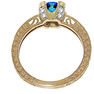 Blue Topaz and Diamond Renaissance Ring 1.5ct in 14K Gold