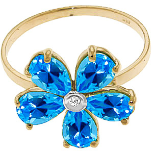 Blue Topaz and Diamond Five Petal Ring 2.2ctw in 14K Gold