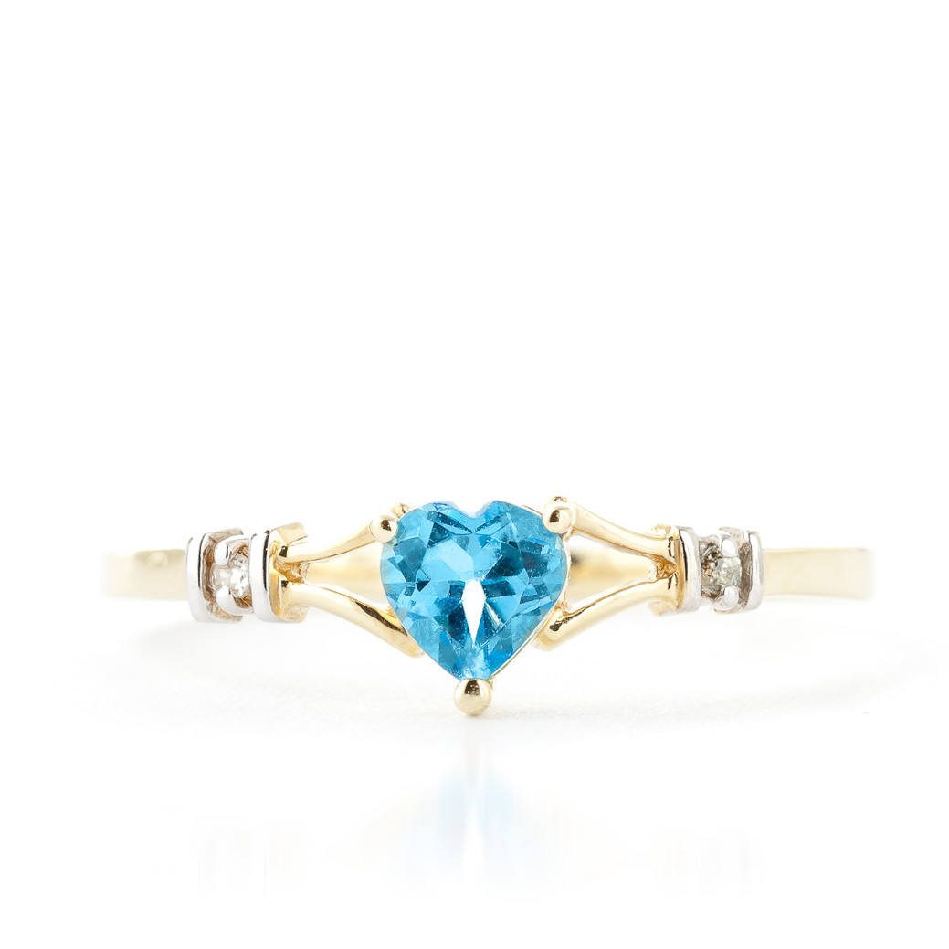 Blue Topaz and Diamond Ring 0.45ct in 9ct Gold