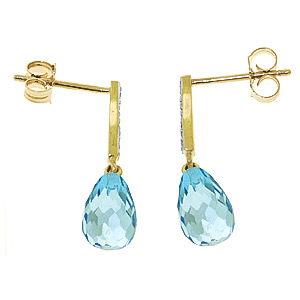 Blue Topaz and Diamond Droplet Earrings 4.5ctw in 9ct Gold