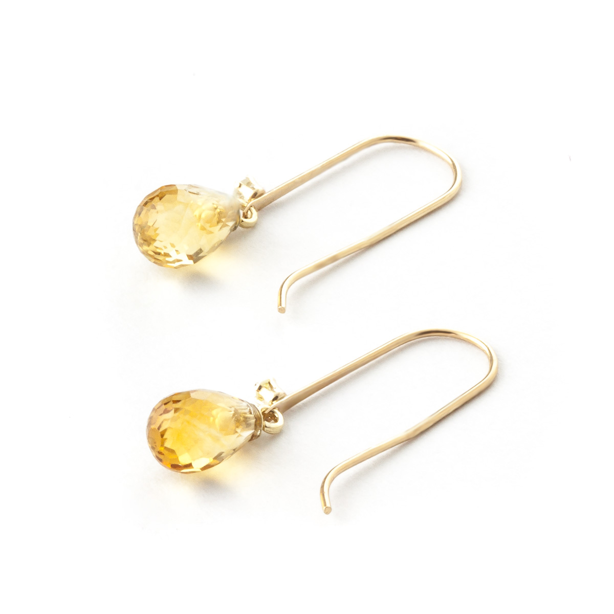 Citrine and Diamond Drop Earrings 1.35ctw in 9ct Gold