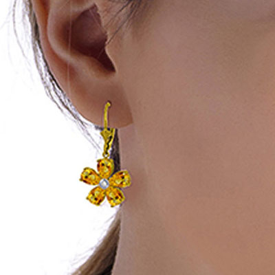 Citrine and Diamond Flower Petal Drop Earrings 4.4ctw in 9ct Gold