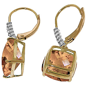 Citrine and Diamond Rococo Drop Earrings 7.2ctw in 9ct Gold
