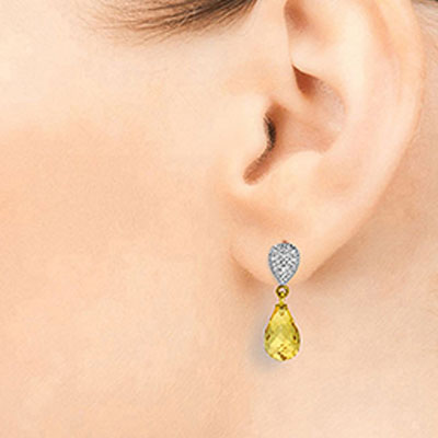 Citrine and Diamond Droplet Earrings 4.5ctw in 14K Gold